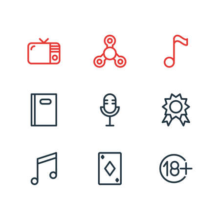 illustration of 9 entertainment icons line style. Editable set of tv, playing card, microphone and other icon elements. Stock Photo