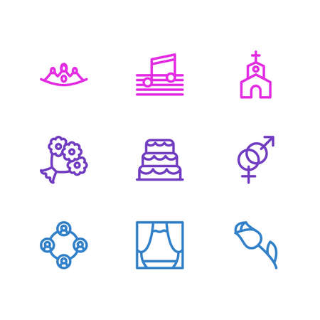 Vector illustration of 9 holiday icons line style. Editable set of flower, music, scene and other icon elements. Banque d'images - 125998649