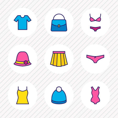 Vector illustration of 9 clothes icons colored line. Editable set of winter hat, bag, underwear and other icon elements.