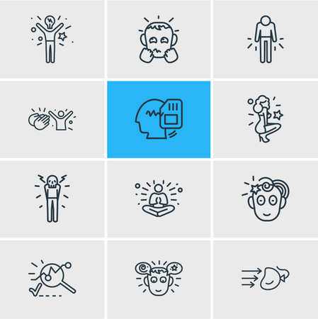 Vector illustration of 12 emotions icons line style. Editable set of inspired, admire, meditation and other icon elements.