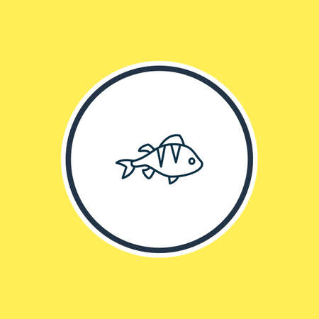 Vector illustration of perch icon line. Beautiful nautical element also can be used as salmon icon element. Çizim