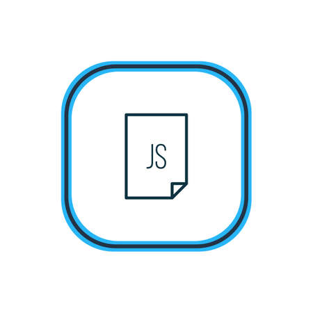 illustration of js icon line. Beautiful paper element also can be used as script  icon element. 写真素材