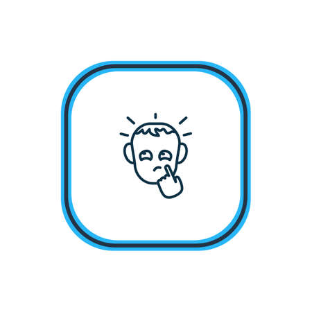 illustration of thoughtful icon line. Beautiful emoticon element also can be used as pensive icon element. Stock Photo
