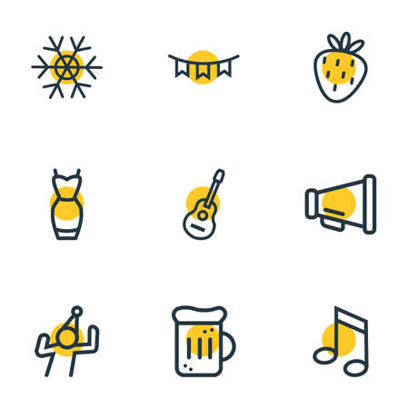 illustration of 9 party icons line style. Editable set of guitar, snowflake, dancing man and other icon elements.
