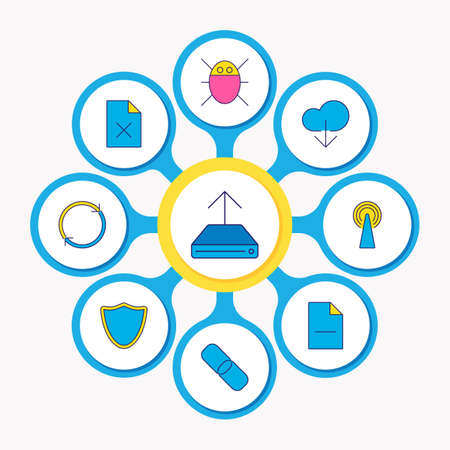 illustration of 9 network icons colored line. Editable set of bug, router, delete file and other icon elements. Stock Photo