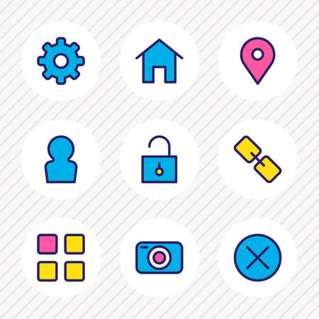 illustration of 9 annex icons colored line. Editable set of thumbnails, profile, camera and other icon elements. 版權商用圖片