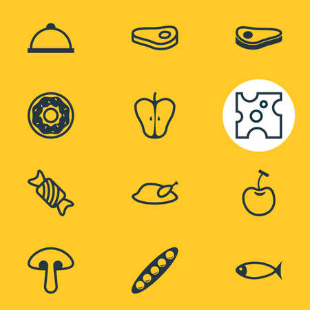 Vector illustration of 12 eating icons line style. Editable set of apple slice, cheese, chicken and other icon elements. Ilustração