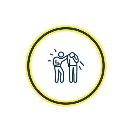 Ilustración de vector de línea de icono de empatía. El elemento de emociones hermosas también se puede utilizar como elemento de icono de amistad.