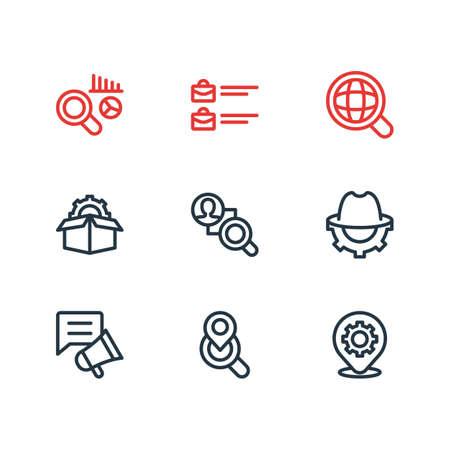 Vector illustration of 9 advertising icons line style. Editable set of market analysis, local search, global search and other icon elements.