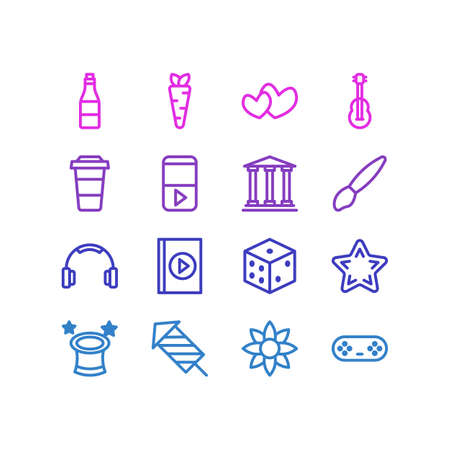 Vector illustration of 16 leisure icons line style. Editable set of dice, firework, flower and other icon elements. Ilustração