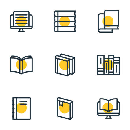 illustration of 9 education icons line style. Editable set of learn, article, schoolbook and other icon elements. Stock Photo