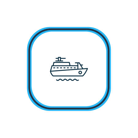 illustration of ship icon line. Beautiful naval element also can be used as vessel icon element. Stock Photo