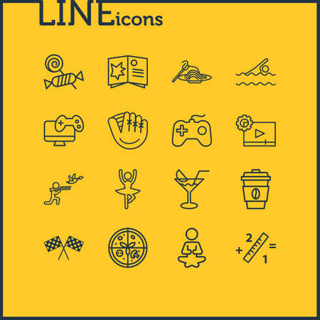 illustration of 16 lifestyle icons line style. Editable set of yoga, coffee, swimming and other icon elements.