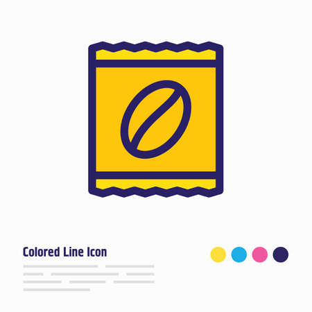 Vector illustration of instant coffee icon colored line. Beautiful java element also can be used as package icon element. Banco de Imagens