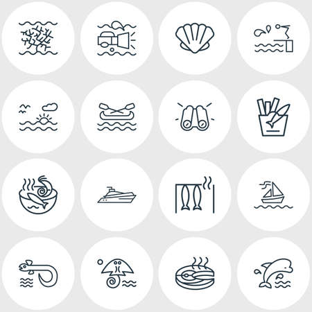 Vector illustration of 16 maritime icons line style. Editable set of mammal, canoe, seafood soup and other icon elements.