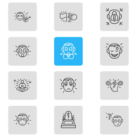 Vector illustration of 12 emoticon icons line style. Editable set of shame, jealousy, goals and other icon elements. Illustration
