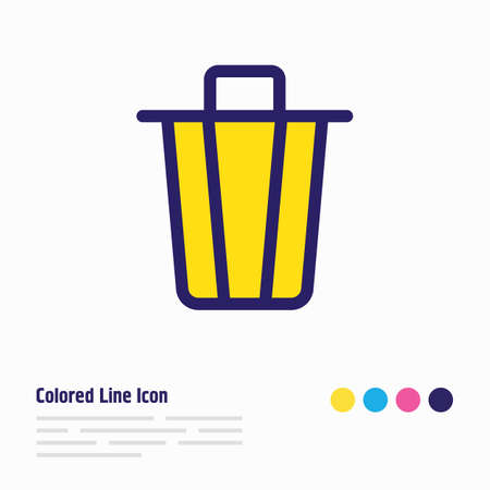 Vector illustration of trash can icon colored line. Beautiful annex element also can be used as garbage container icon element.