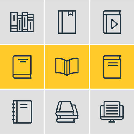 illustration of 9 book reading icons line style. Editable set of article, encyclopedia, education and other icon elements.