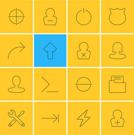 illustration of 16 UI icons line style. Editable set of add user, male user, repair and other icon elements. Stock Photo