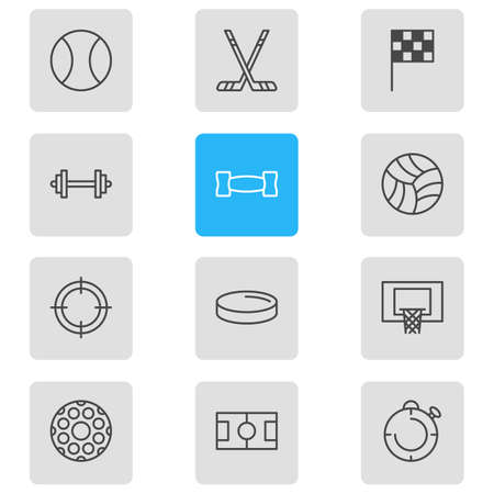 Vector illustration of 12 sport icons line style. Editable set of flag, stopwatch, hockey and other icon elements. Banque d'images - 116409605