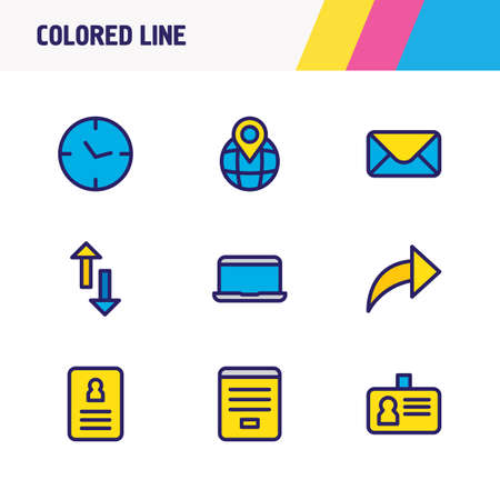Vector illustration of 9 contact icons colored line. Editable set of contact form, id, cv and other icon elements.