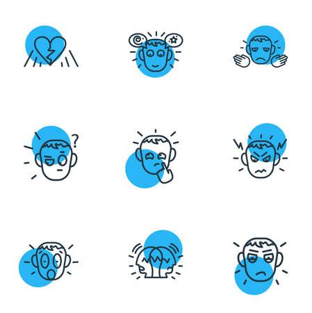 Vektor-Illustration von 9 Emotionen Symbole Linienstil. Bearbeitbarer Satz paranoider, schockierter, verdächtiger und anderer Symbolelemente.