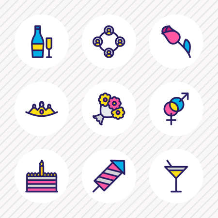 Vector illustration of 9 holiday icons colored line. Editable set of flowers, crown, beverage and other icon elements. Banque d'images - 125571017