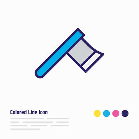 illustration of axe icon colored line. Beautiful construction element also can be used as hatchet icon element.
