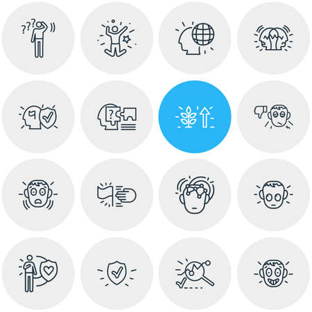 Vector illustration of 16 emoticon icons line style. Editable set of analysis, undecided, honesty and other icon elements.