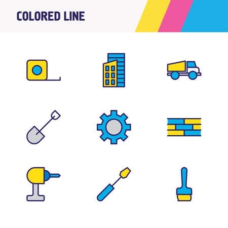 Vector illustration of 9 construction icons colored line. Editable set of gear, buildings, ruler and other icon elements.