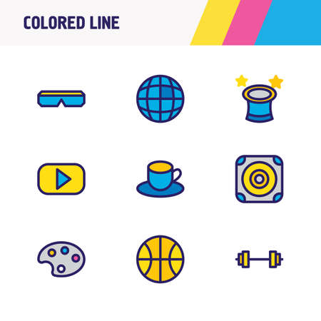 illustration of 9 joy icons colored line. Editable set of loudspeaker, tea, palette and other icon elements.
