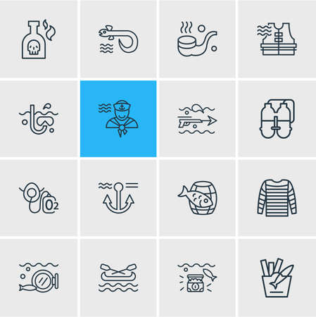 illustration of 16 sea icons line style. Editable set of fish with chips, oxygen mask, wealth and other icon elements.