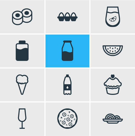 Vector illustration of 12 food icons line style. Editable set of watermelon, cupcake, sushi and other icon elements. Ilustração