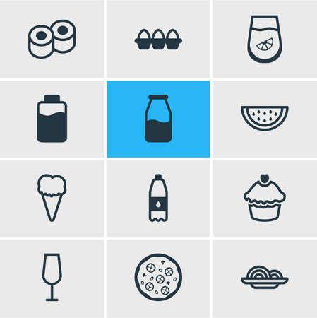 Vektor-Illustration von 12 Lebensmittelsymbolen Linienstil. Bearbeitbarer Satz von Wassermelone, Cupcake, Sushi und anderen Symbolelementen.