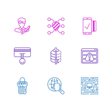 Vector illustration of 9 protection icons line style. Editable set of safe search, mobile transaction, author rights and other icon elements.