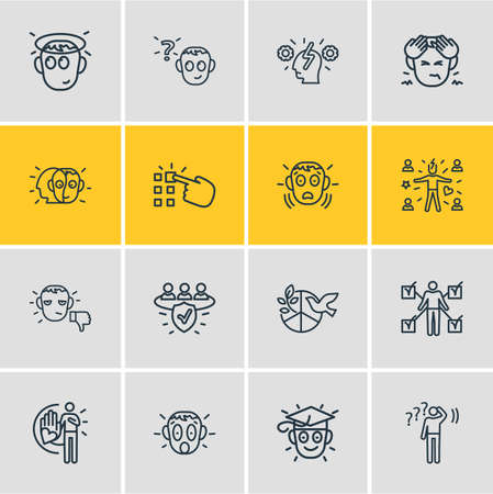 illustration of 16 emoji icons line style. Editable set of unsatisfied, trust, cognitive process and other icon elements.