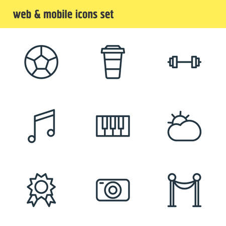 Vector illustration of 9 joy icons line style. Editable set of award, sun, camera and other icon elements.