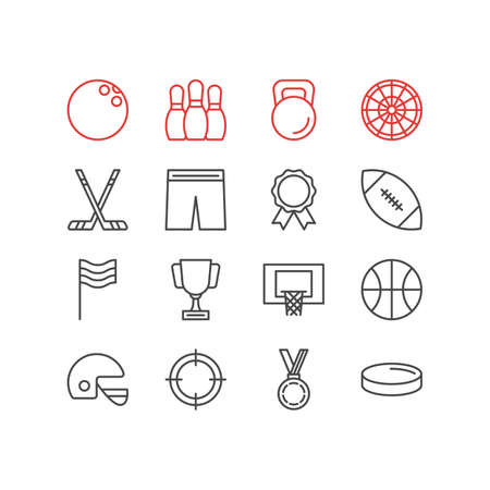Vector illustration of 16 sport icons line style. Editable set of reward, target, kettlebell and other icon elements.