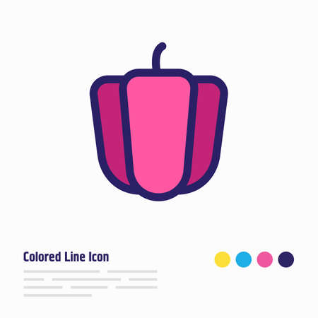 illustration of pepper icon colored line. Beautiful eating element also can be used as bulgarian bell icon element. Stok Fotoğraf
