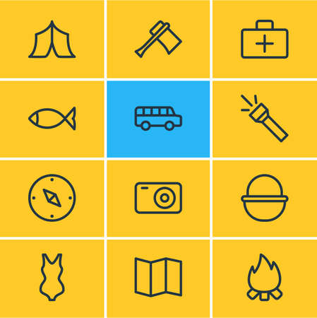illustration of 12 camping icons line style. Editable set of tent, bus, medicine and other icon elements. Stockfoto