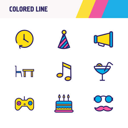 illustration of 9 event icons colored line. Editable set of music note, game controller, cocktail and other icon elements.