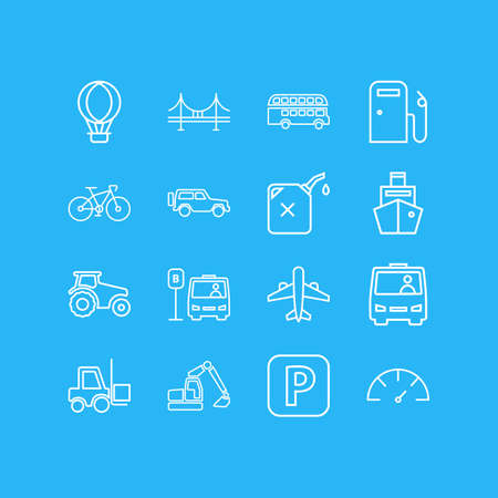 illustration of 16 transportation icons line style. Editable set of gas station, forklift, bridge and other icon elements. 免版税图像