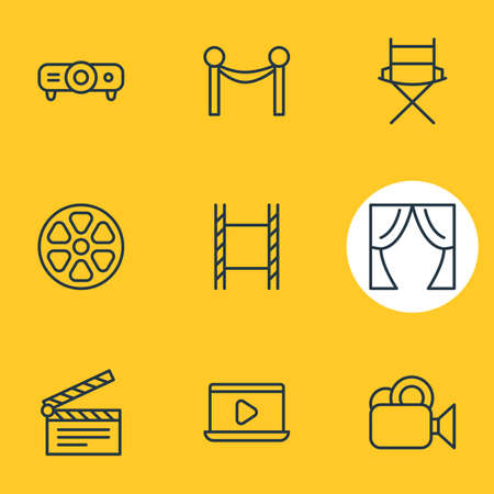 Vector illustration of 9 film icons line style. Editable set of clapperboard, tape, barrier rope and other icon elements.
