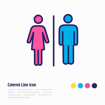 illustration of bathroom icon colored line. Beautiful vacation element also can be used as wc icon element.
