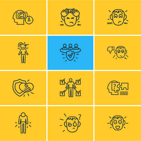 illustration of 12 emoji icons line style. Editable set of failure, think outside box, disappointment and other icon elements.