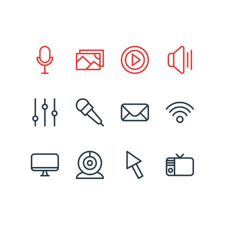 Vector illustration of 12 music icons line style. Editable set of microphone, settings, mike and other icon elements.
