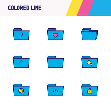 Vector illustration of 9 folder icons colored line. Editable set of remove folder, protection, search and other icon elements. Stock fotó