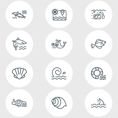 Vector illustration of 12 maritime icons line style. Editable set of fin, lifebuoy, flounder fish and other icon elements.