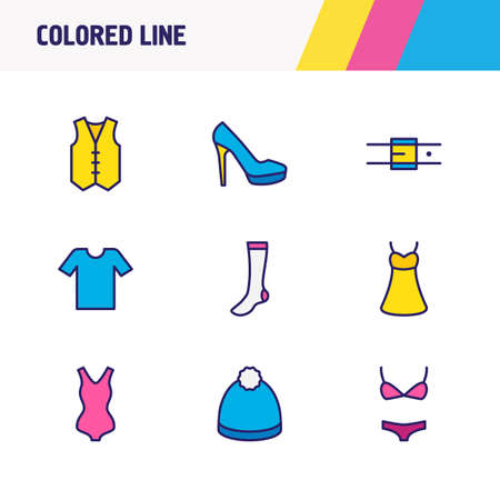 Vector illustration of 9 clothes icons colored line. Editable set of women shoe, winter hat, belt and other icon elements. Illusztráció