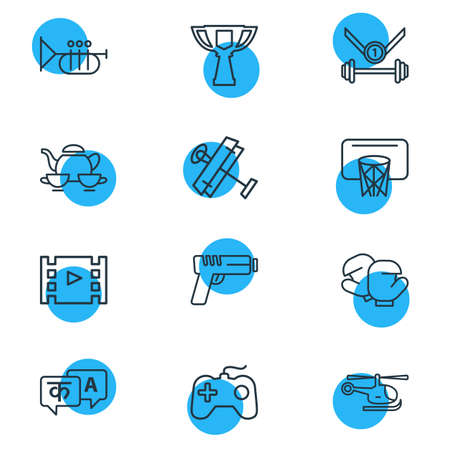 Vector illustration of 12 activities icons line style. Editable set of award cup, gun, sport and other icon elements. Illustration